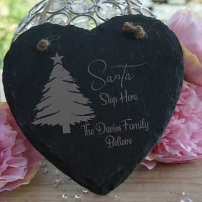 "Personalised The ""Name"" Family Believe Slate Hanging Heart"