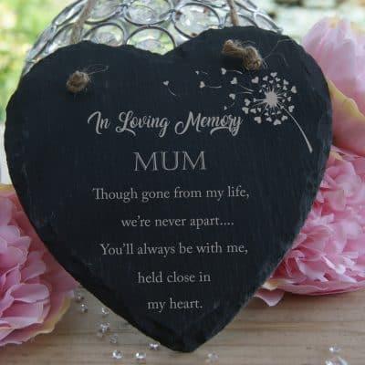 Personalised In Loving Memory Slate Hanging Heart