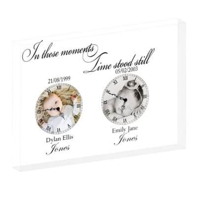 Personalised In These Moments Time Stood Still Crystal Block