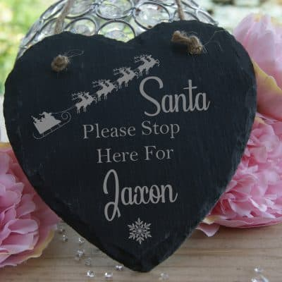 Personalised Santa Please Stop Here Slate Hanging Heart