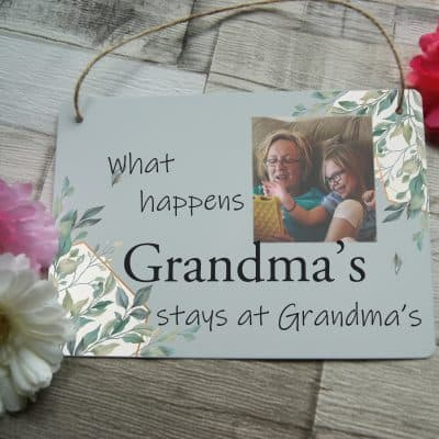 Personalised What Happens At Grandma's Hanging Sign