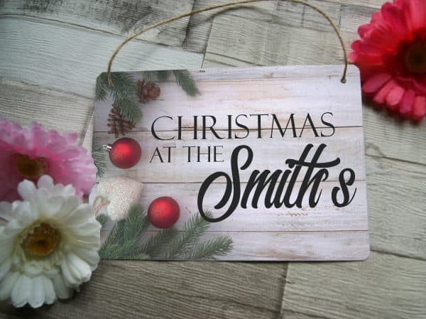 Personalised Christmas At The Hanging Sign