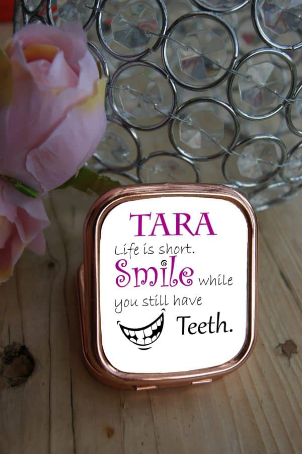 Personalised Life Is Short Rose Gold Compact Mirror