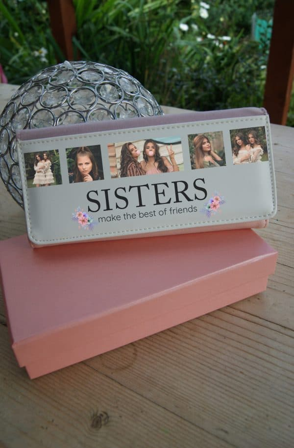 Personalised Sisters Make The Best Of Friends Pink PU Leather Purse
