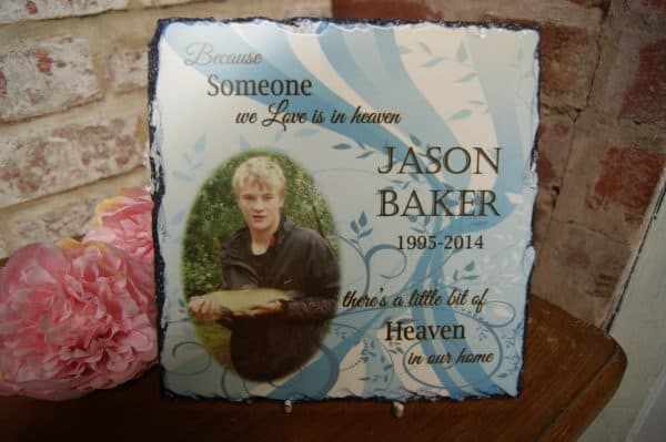 Personalised Because Someone We Love Is In Heaven Square Slate