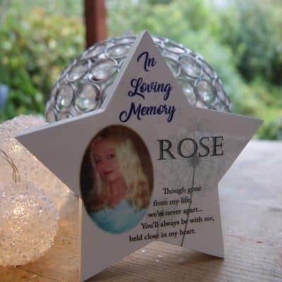 Personalised In Loving Memory Freestanding Wooden Star