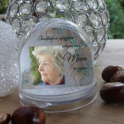 Personalised Feathers Appear Snow Globe