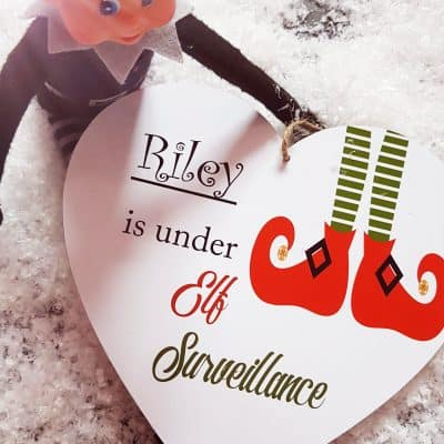 Personalised Elf Surveillance Wooden Hanging Heart