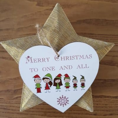 Personalised Family Christmas Wooden Hanging Heart