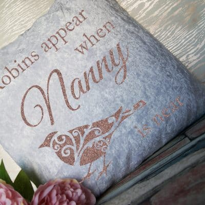 Personalised Robins Appear White Crushed Velvet Cushion With Rose Gold Glitter Vinyl