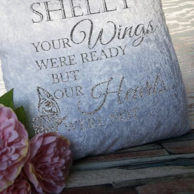 Personalised Your Wings Were Ready Cushion With Vinyl