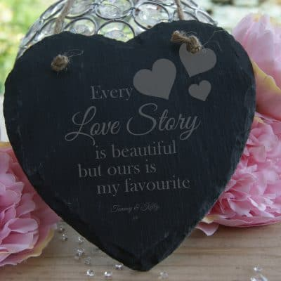 Personalised Every Love Story Slate Hanging Heart