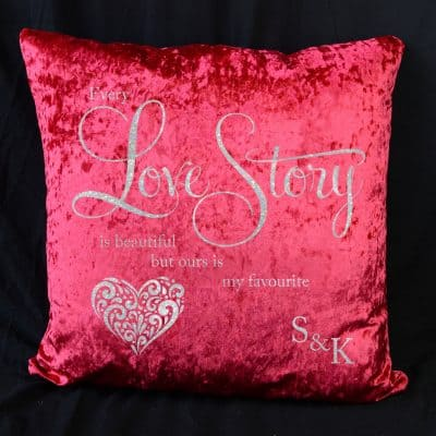 Personalised Every Love Story Red Crushed Velvet Cushion With White Glitter Vinyl