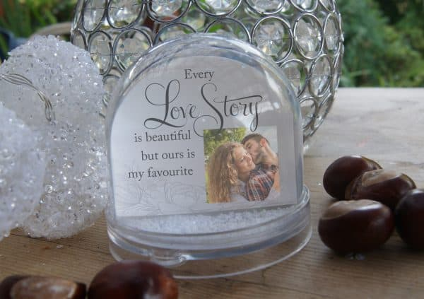 Personalised Every Love Story Is Beautiful Snow Globe