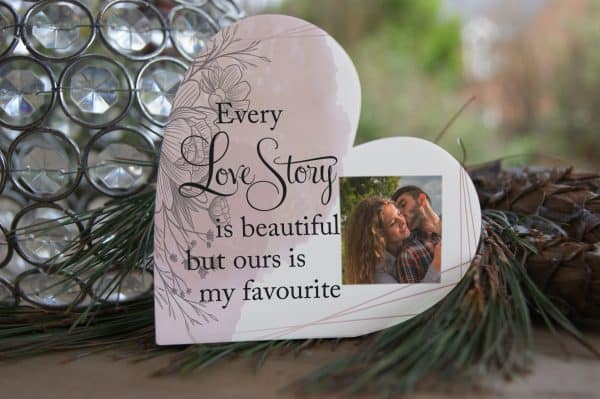 Personalised Every Love Story Freestanding Acrylic Heart