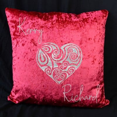 Personalised Heart Red Crushed Velvet Cushion With White Glitter Vinyl