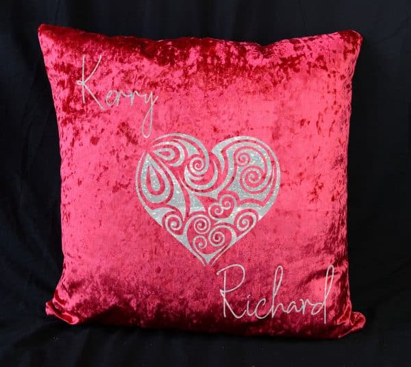 Personalised Heart Red Crushed Velvet Cushion With White Glitter Vinyl