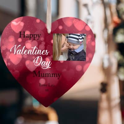 Personalised Happy Valentines Day Mummy/Daddy Wooden Hanging Heart
