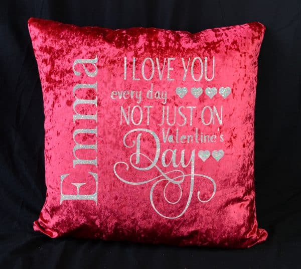 Personalised I Love You Everyday Red Crushed Velvet Cushion With White Glitter Vinyl