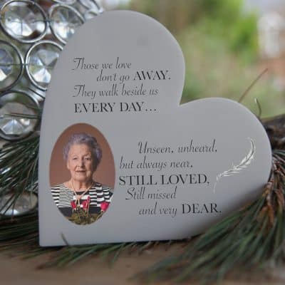 Personalised Those We Love Don't Go Away Freestanding Acrylic Heart