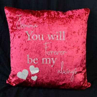 Personalised Forever My Always Red Crushed Velvet Cushion With White Glitter Vinyl
