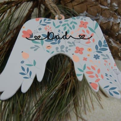 Personalised Blue Background Angel Wings