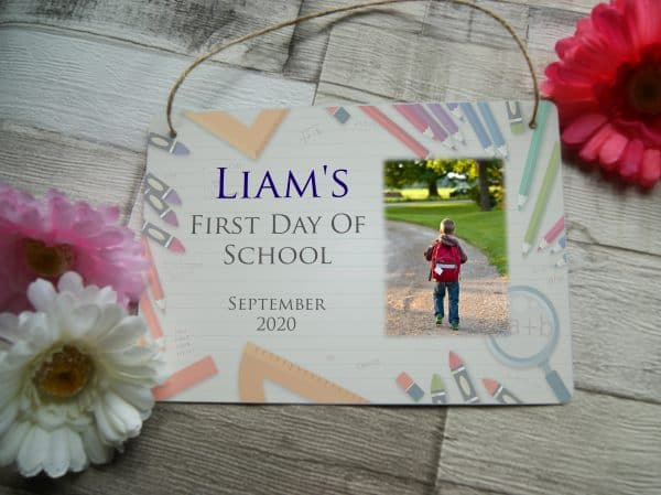 Personalised First Day Of School Hanging Sign