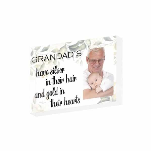 Personalised Grandads Have Silver In Their Hair Crystal Block