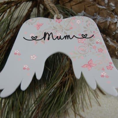 Personalised Pink Background Angel Wings