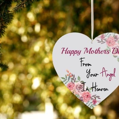 Happy Mothers Day From Your Angel In Heaven Wooden Hanging Heart