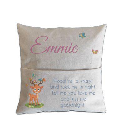 Personalised Deer Read Me A Story Pocket Cushion