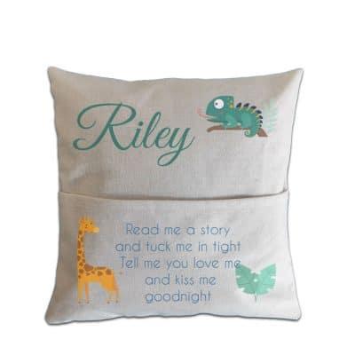 Personalised Giraffe Read Me A Story Pocket Cushion