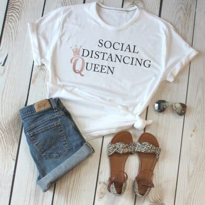 Social Distancing Queen Ladies T-Shirt
