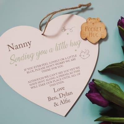 Personalised Sending A Hug Large Wooden Hanging Heart