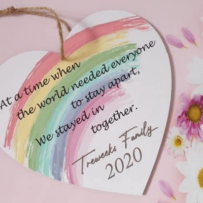 Personalised Rainbow Wooden Hanging Heart