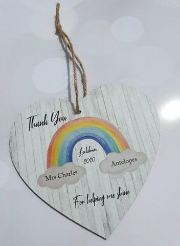 Personalised Rainbow Lockdown Teacher Wooden Hanging Heart