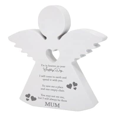 Personalised In Heaven On Your Wedding Day Wooden Angel