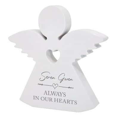 Personalised Always In Our Hearts Wooden Angel