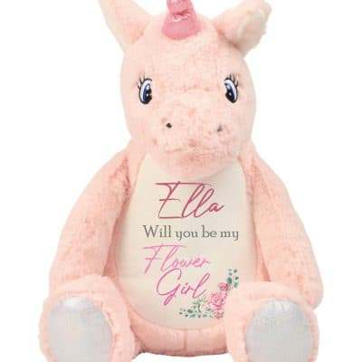 Personalised Flower Girl Unicorn Soft Toy