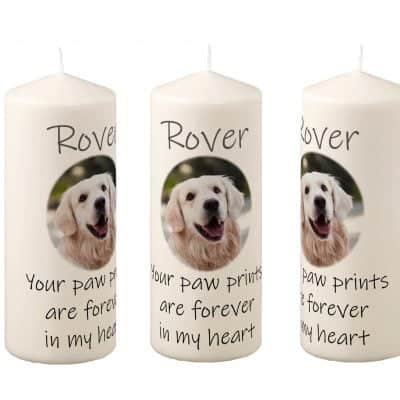 Personalised Paw Prints Pillar Candle