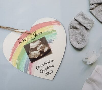 Personalised Conceived In Lockdown Wooden Hanging Heart