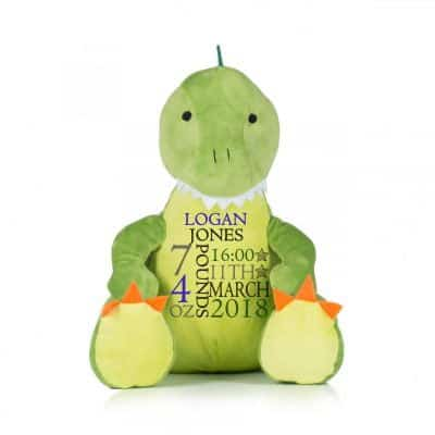 Personalised Birth Announcement Dinosaur Soft Toy