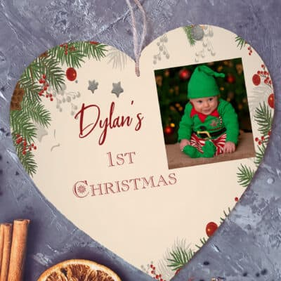 Personalised 1st Christmas Wooden Hanging Heart