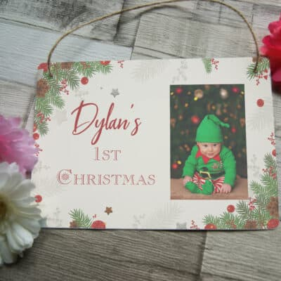 Personalised 1st Christmas Hanging Sign