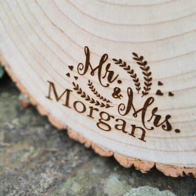 Personalised Mr & Mrs Log Slice