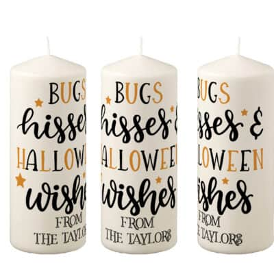 Personalised Bugs And Hisses Pillar Candle