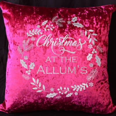 Personalised Christmas At The Red Crushed Velvet Cushion With White Glitter Vinyl