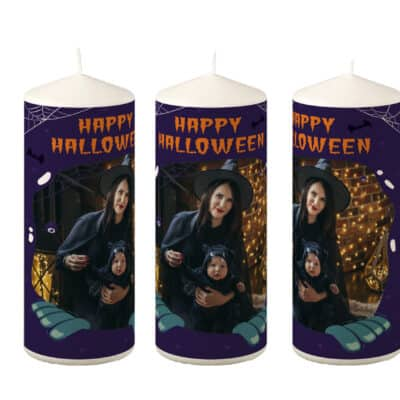 Personalised Happy Halloween Pillar Candle