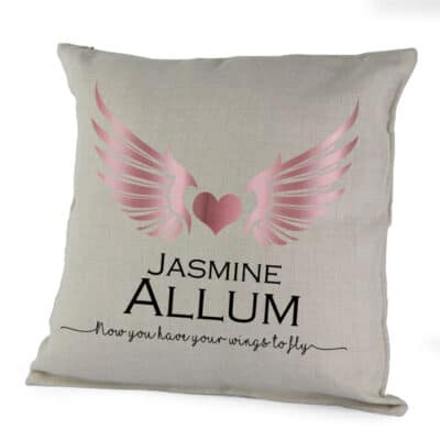 Personalised Wings To Fly Cushion With Vinyl