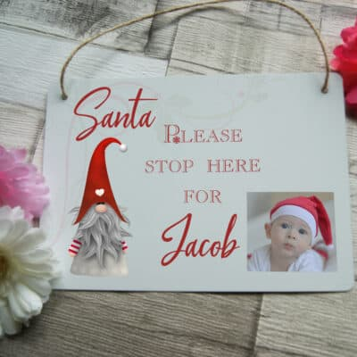 Personalised Santa Stop Here Hanging Sign